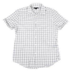 John Varvatos USA | Slim Fit White Plaid Shirt M